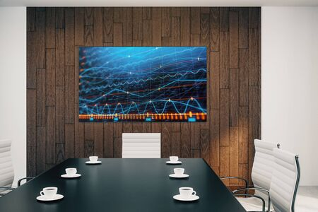 Conference room interior with financial chart on screen monitor on the wall. Stock market analysis concept. 3d rendering. Stock fotó - 129987353