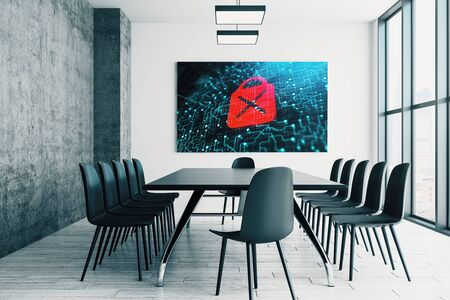 Conference room interior with lock icon on screen monitor on the wall. Data safety concept. 3d rendering.