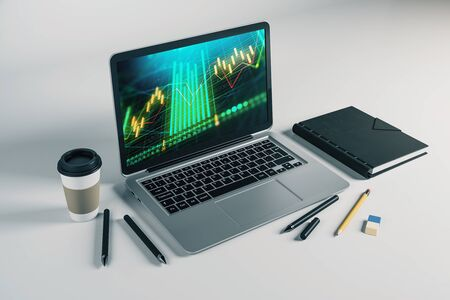 Laptop closeup with forex graph on computer screen. Financial trading and education concept. 3d rendering. Stock fotó - 129987395