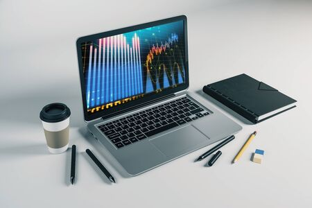 Laptop closeup with forex graph on computer screen. Financial trading and education concept. 3d rendering. Stock fotó - 129987452
