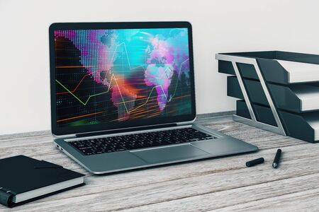 Laptop closeup with forex graph and world map on computer screen. Financial trading and education concept. 3d rendering. Stock fotó - 129987459
