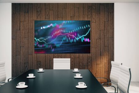 Conference room interior with financial chart on screen monitor on the wall. Stock market analysis concept. 3d rendering. Stock fotó - 129987495