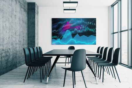 Conference room interior with financial chart on screen monitor on the wall. Stock market analysis concept. 3d rendering. Stock fotó - 129987554