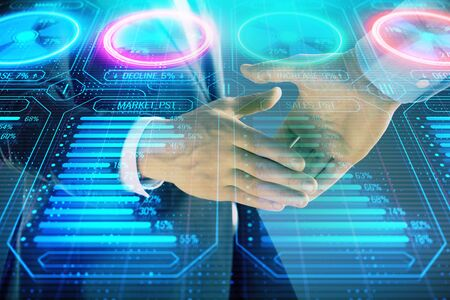 Multi exposure of business graph on abstract background with two men handshake. Concept of success Stock Photo - 130142925