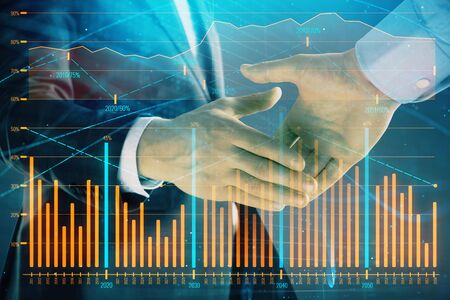 Multi exposure of forex graph on abstract background with two businessmen handshake. Concept of success on stock market Stock Photo - 130142924