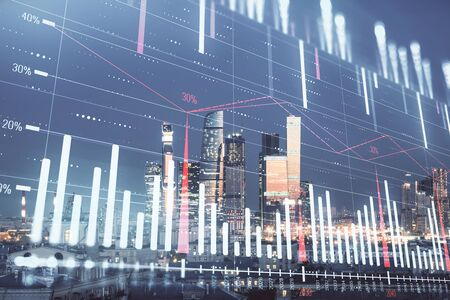 Double exposure of financial chart on Moscow city downtown background. Concept of stock market analysis 版權商用圖片