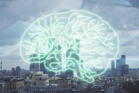 Double exposure of human brain drawing on Moscow cityscape background. Concept of data analysis 版權商用圖片