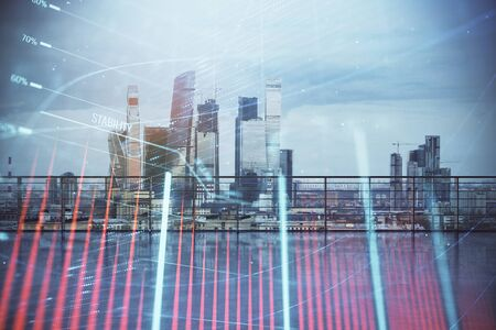 Forex graph hologram with city view from roof background. Double exposure. Stock market concept.