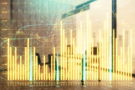 Business theme graph hologram with minimalistic cabinet interior background. Double exposure. Stock market concept. Stock fotó