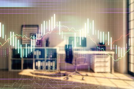 Forex chart hologram with minimalistic cabinet interior background. Double exposure. Stock market concept. Фото со стока