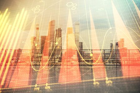 Forex graph hologram with city view from roof background. Double exposure. Financial analysis concept. Reklamní fotografie
