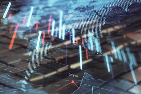 Financial chart hologram with globe and abstract background. Double exposure. Concept of market analysis