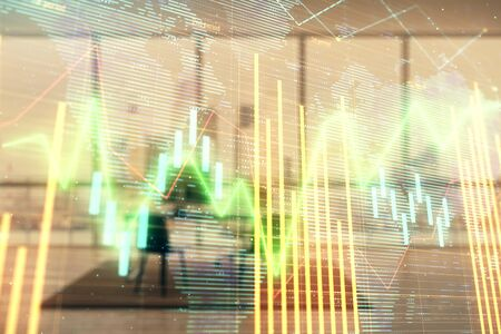 Forex chart hologram with map and minimalistic cabinet interior background. Double exposure. International business concept. Фото со стока