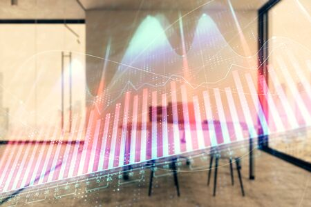 Forex chart hologram with minimalistic cabinet interior background. Double exposure. Stock market concept. Reklamní fotografie