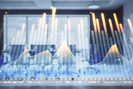 Double exposure of forex chart on conference room background. Concept of stock market analysis Stock fotó