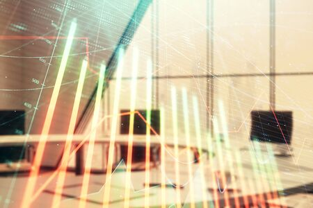 Double exposure of forex chart on conference room background. Concept of stock market analysis Stok Fotoğraf