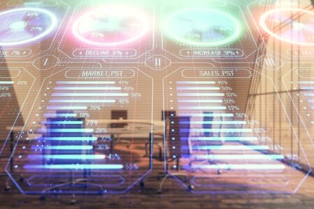 Business theme hologram on conference room interior background. Double exposure. Concept of brainstorming in business. Stock fotó
