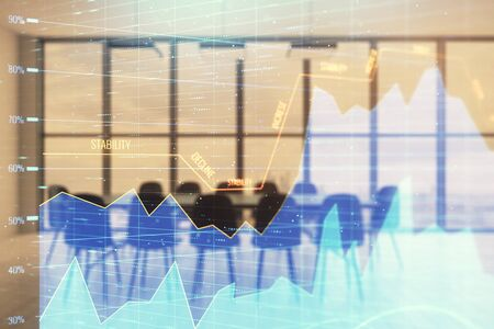 Multi exposure of stock market graph on conference room background. Concept of financial analysis