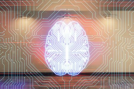 Double exposure of brain drawings hologram on empty room interior background. Data concept. Imagens