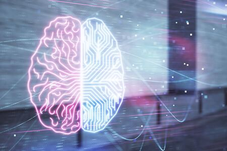 Double exposure of brain sketch hologram on empty exterior background. big data concept