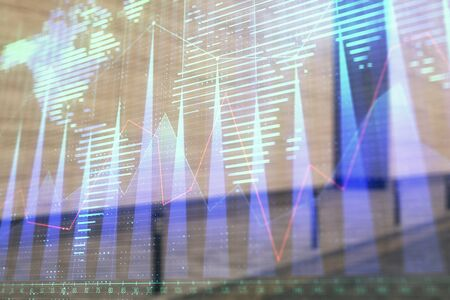Double exposure of stock market graph and globe hologram on empty exterior background. Concept of analysis Stok Fotoğraf