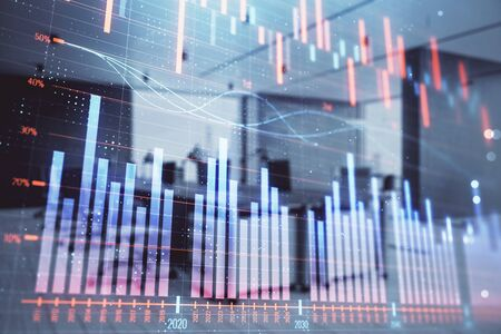 Stock market chart with trading desk bank office interior on background. Double exposure. Concept of financial analysis Stock fotó - 130161465