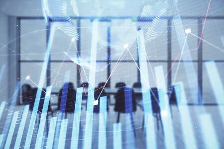 Double exposure of stock market graph with globe hologram on conference room background. Concept of international finance Stock fotó - 130161525