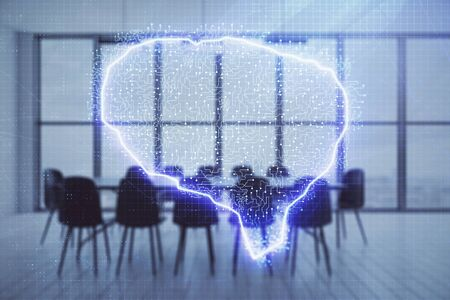 Double exposure of brain drawing hologram on conference room background. Concept of data analysis Stok Fotoğraf