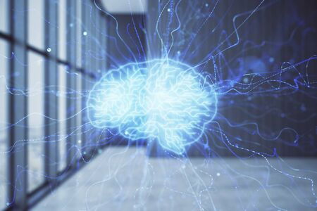 Double exposure of brain drawings hologram on empty room interior background. Data concept. Stock fotó
