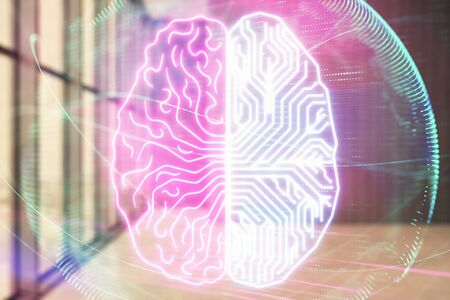 Double exposure of brain drawings hologram on empty room interior background. Data concept. Stok Fotoğraf