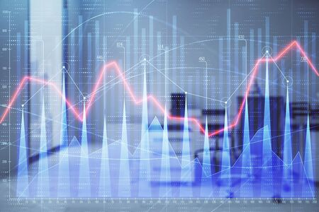Stock market chart with trading desk bank office interior on background. Double exposure. Concept of financial analysis Stok Fotoğraf
