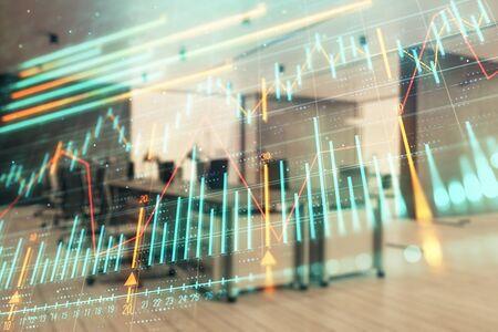 Graphique du marché boursier avec l'intérieur du bureau de la banque du bureau de négociation en arrière-plan. Double exposition. Concept d'analyse financière