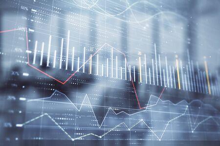 Wykres rynku akcji i obligacji z biurkiem handlowym banku wnętrza biura na tle. Wielokrotna ekspozycja. Koncepcja analizy finansowej