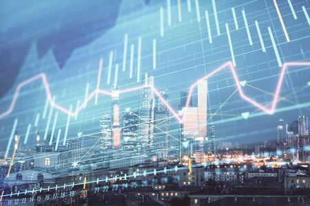 Double exposure of financial chart on Moscow city downtown background. Concept of stock market analysis Stock Photo