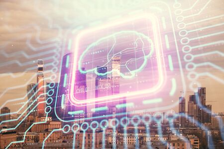 Double exposure of human brain drawing on Moscow cityscape background. Concept of data analysis Stock Photo