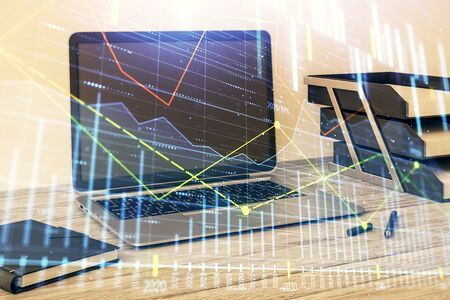 Stock market chart and desktop office computer background. Multi exposure. Concept of financial analysis. Stock fotó - 130681754