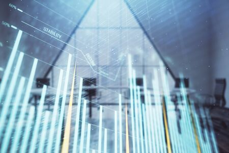 Double exposure of forex chart on conference room background. Concept of stock market analysis Stock fotó - 130681935
