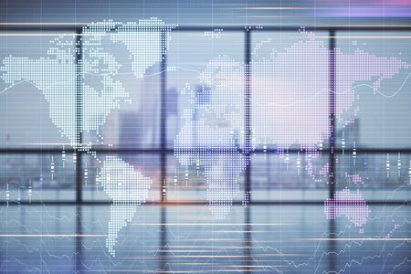 Double exposure of financial chart with world map on empty room interior background. International market concept. Stock fotó - 130683234