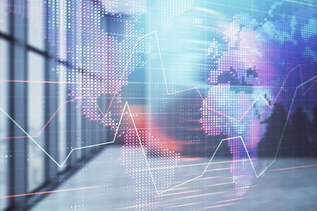 Double exposure of financial chart with world map on empty room interior background. International market concept. Stock fotó - 130683252