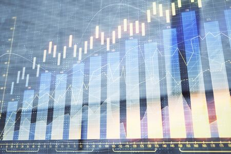 Double exposure of stock market graph on empty exterior background. Concept of analysis Stock fotó - 130683345
