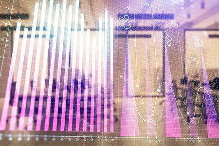 Stock market chart with trading desk bank office interior on background. Double exposure. Concept of financial analysis Stock fotó