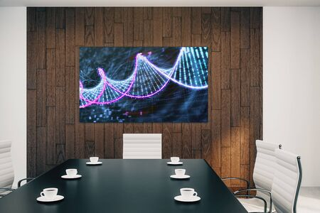 Conference room interior with DNA on screen monitor on the wall. Education concept. 3d rendering.