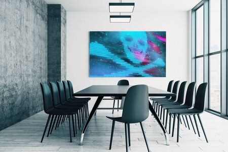 Conference room interior with hacking picture on screen monitor on the wall. Data safety concept. 3d rendering. Stock Photo