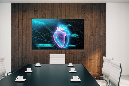 Conference room interior with heart on screen monitor on the wall. Medical education concept. 3d rendering.