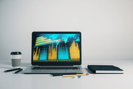 Laptop closeup with forex graph and world map on computer screen. Financial trading and education concept. 3d rendering.