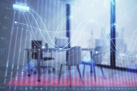 Forex chart hologram with minimalistic cabinet interior background. Double exposure. Stock market concept. Zdjęcie Seryjne