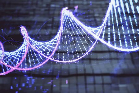 DNA hologram with abstract background. Multi exposure. Concept of science Stock Photo