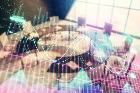 Double exposure of forex chart on conference room background. Concept of stock market analysis Zdjęcie Seryjne