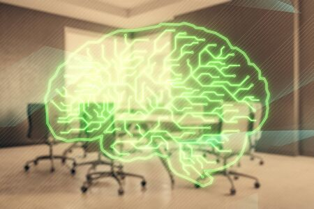Double exposure of brain drawing hologram on conference room background. Concept of data analysis Zdjęcie Seryjne