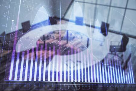 Double exposure of forex chart on conference room background. Concept of stock market analysis Reklamní fotografie